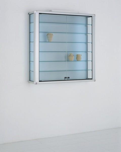 stabile hängende Glas Alu Wandvitrine LED-beleuchtet mit Schloss  2 x 40 W - Art.-Nr. OL9923H-mb