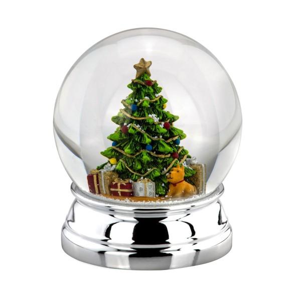 große versilberte Glas Schneekugel Ø 10 cm farbiger Weihnachtsbaum - Art.-Nr. 5333ver