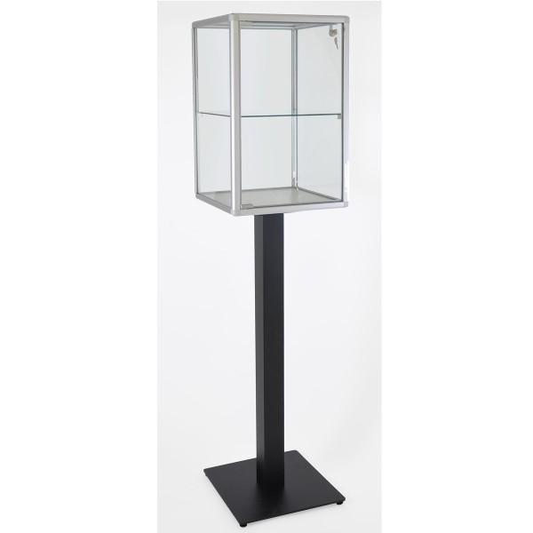 Schmuckvitrine aus Glas mit Fuß abschließbar mit LED-Beleuchtung  mit quadratischen Profilen
