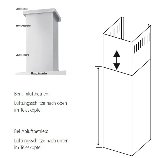 Oranier Schacht für Dunstabzugshauben Verlängerungsschacht Wandhaube Livas 100 cm LGS