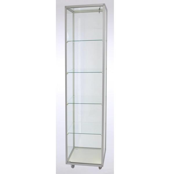 schmale Standvitrine aus Glas für Sammler abschließbar mit LED-Beleuchtung auf Rollen