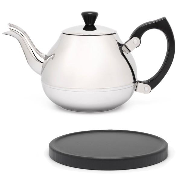 glänzende einwandige Edelstahl Teekanne 0.75 L schwarzer Griff & schwarzer Holzuntersetzer