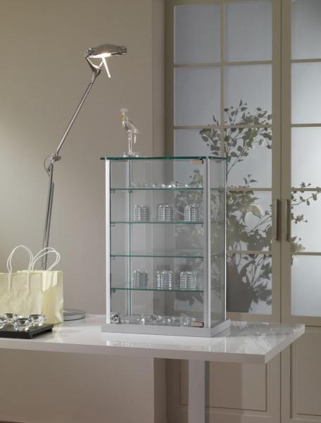 kleine Aufsatzvitrine Glas 40 cm Tischvitrine Alu abschließbar grau - Art.-Nr. ADT40-25-ob-grau