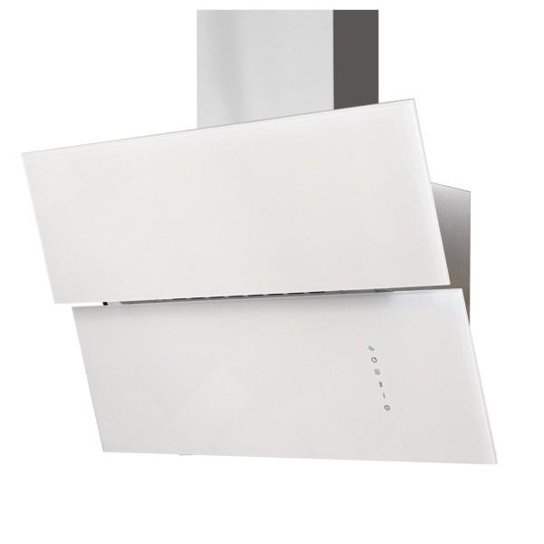 breite weiße Edelstahl Glas Wandhaube 80 cm Abluft