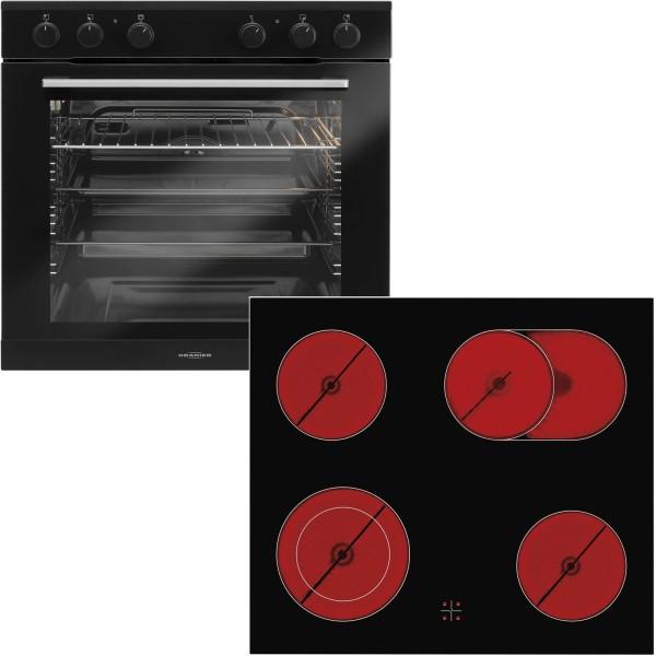 Oranier schwarzes Einbauherd Set EBH 9923 & 60 cm breites Glaskeramikkochfeld KFC 9866