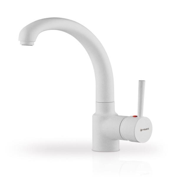 weißer Küchen Einhebelmischer Ausladung 201 mm