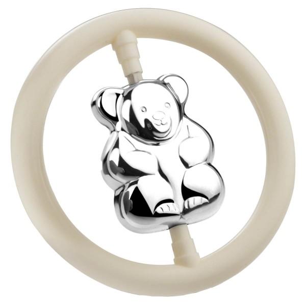 Zilverstad Rassel Bär im Ring B90 schwer versilbert L 7,5 cm - Art.-Nr. 2000620