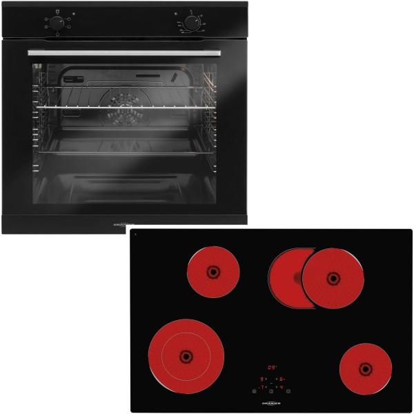 Oranier schwarzes Einbaubackofen Set & 80 cm breites Glaskeramikkochfeld KFTC 9983 TC