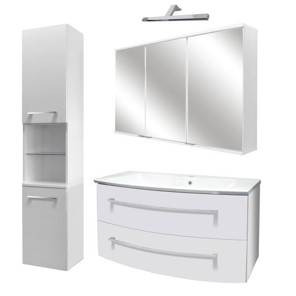 Fackelmann großes Badezimmer Möbel Set hängend 100 cm 5 tlg Hochschrank