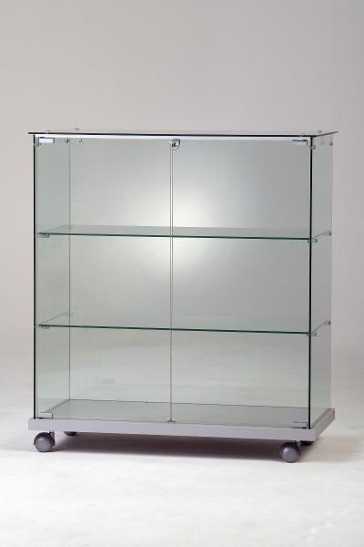 Messetheke Vitrine Glas abschließbar für Ausstellung beleuchtet & rollbar 80x40 cm - Art.-Nr. SVT8040-mb-r