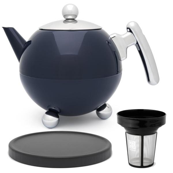große blaue bauchige doppelwandige Edelstahl Teekanne 1.2 Liter & Filter & schwarzer Holzuntersetzer