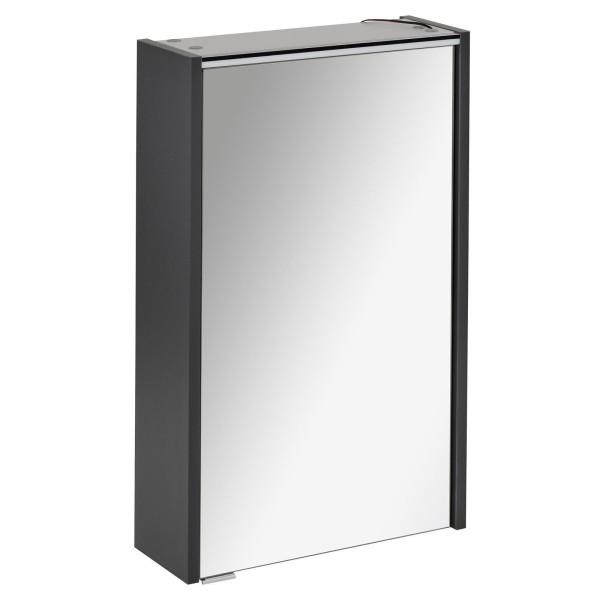 Fackelmann 1 türiger Spiegelschrank mit LED Beleuchtung grau Denver 42 cm 82185