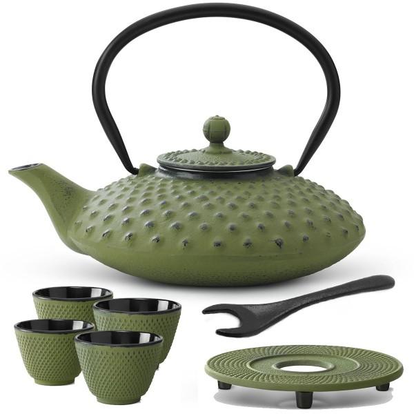 gusseisernes grünes asiatisches Teekannen Set Xilin mit Untersetzer Becher & Deckelheber 0,8 Liter / 4 Stück