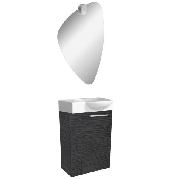 Fackelmann dunkles Gäste WC Badmöbel Set hängend 45 cm 4 tlg
