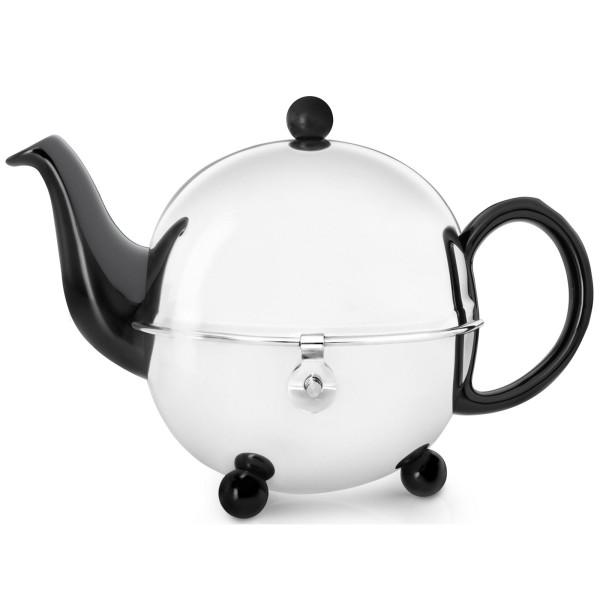 kleine bauchige Edelstahl Keramik Teekanne 0.9 Liter mit Edelstahlteefilter