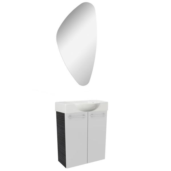 Fackelmann modernes Gäste WC Badmöbel Set hängend 55 cm 3 tlg