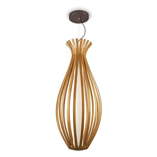 LED Pendelleuchte Bamboo Ø 500 mm rostbraun lackiert