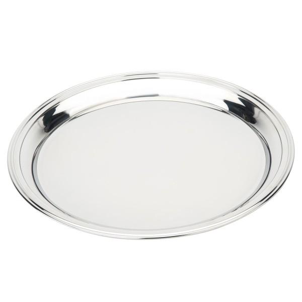 großes rundes silbernes Edelstahl XL Tablett Ø 35 cm