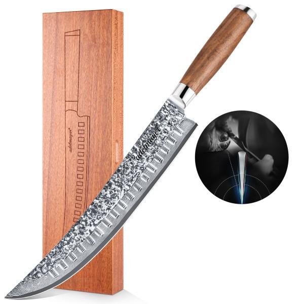 Adelmayer® edles Damast Zerlegemesser 26 cm mit braunem Walnußholzgriff
