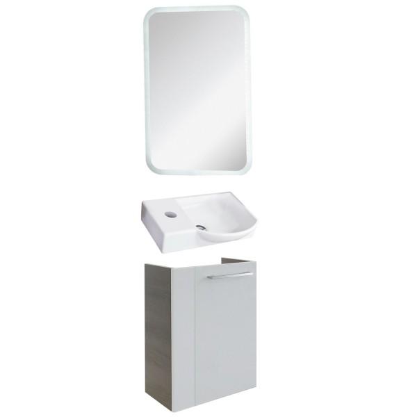 Fackelmann schmales Gäste WC Badmöbel Set hängend 45 cm LED