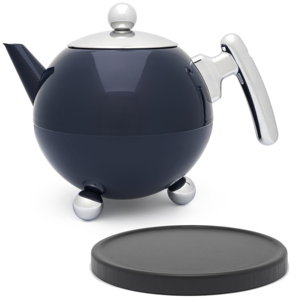 große blaue bauchige doppelwandige Edelstahl Teekanne 1.2 Liter & schwarzer Holzuntersetzer