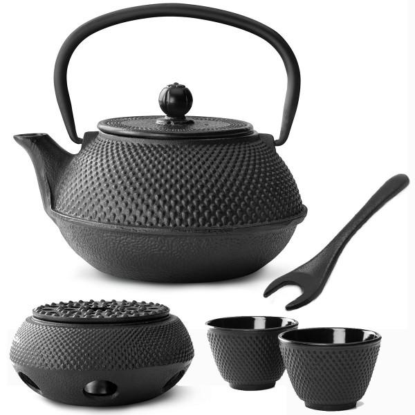 schwarzes asiatisches Teekannen Set Jang Gusseisen 4 tlg. mit Teewärmer & Deckelheber 0,8 Liter