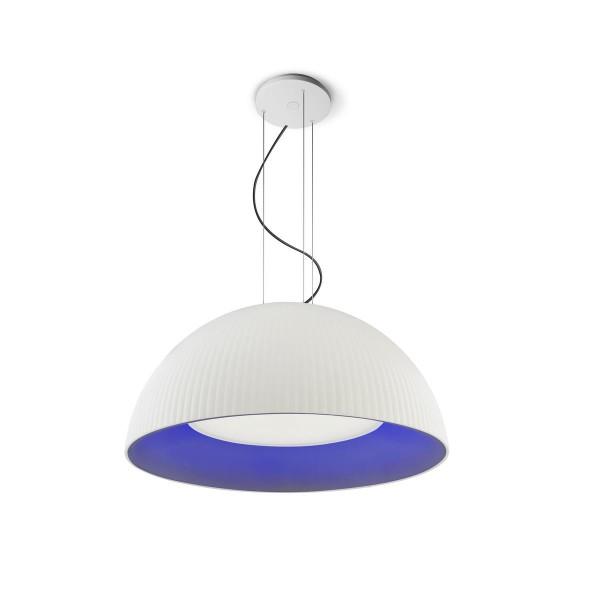 LED Pendelleuchte Aura Ø 700 mm matt weiss, innen blau