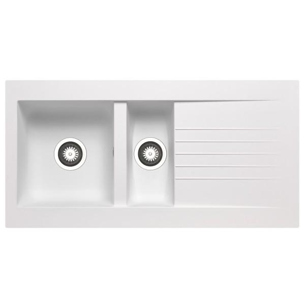 weiße XL Einbauspüle 100 cm Fibertek 1 großes Becken