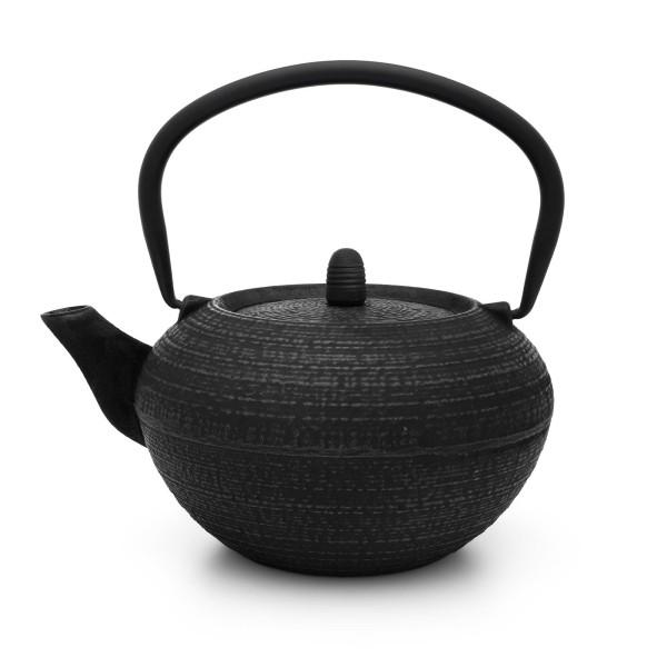 schwarze runde gusseiserne Asia Teekanne 1.2 Liter inkl. Filtersieb
