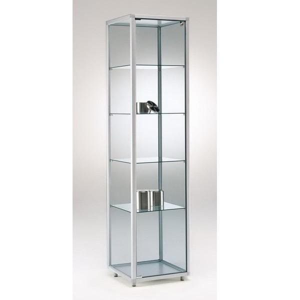 Standvitrine Alu aus Glas mit Schloss ohne Spiegelrückwand / auf Rollen