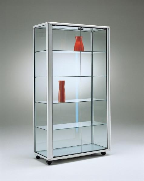 stabile rollbare beleuchtete Alu-Glasvitrine Ausstellung mit Schloss 99 x 45 cm - Art.-Nr. OL9945-mb-r
