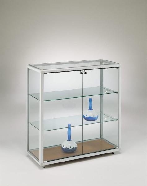 breite Standvitrine Glas Alu halbhoch 2-türig abschließbar - Art.-Nr. BT9942-ob-r-gr