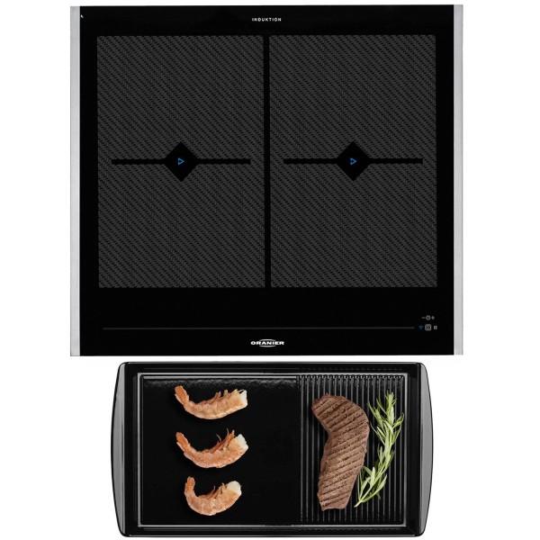 Oranier Flächeninduktion Kochfeld FLI 2068 be cook & Grillplatte & Seitenleisten 60 cm