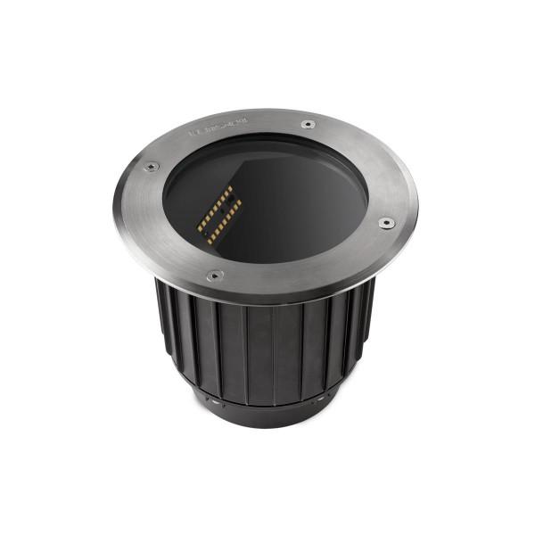 LED Bodeneinbauleuchte Gea Ø 185 mm Edelstahl poliert schwarz