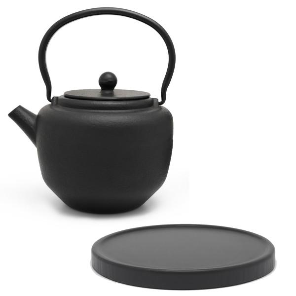 schwarzes asiatisches Guss Teekannen Set 1.3 Liter inkl. schwarzer Holzuntersetzer