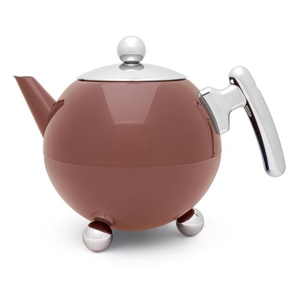 große rosa bauchige doppelwandige Edelstahl Teekanne 1.2 Liter