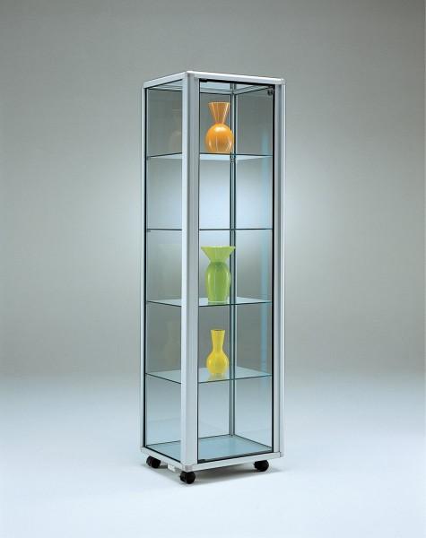 stabile rollbare beleuchtete Alu-Glasvitrine Ausstellung mit Schloss 55 x 55 cm  - Art.-Nr. OL5555-mb-r