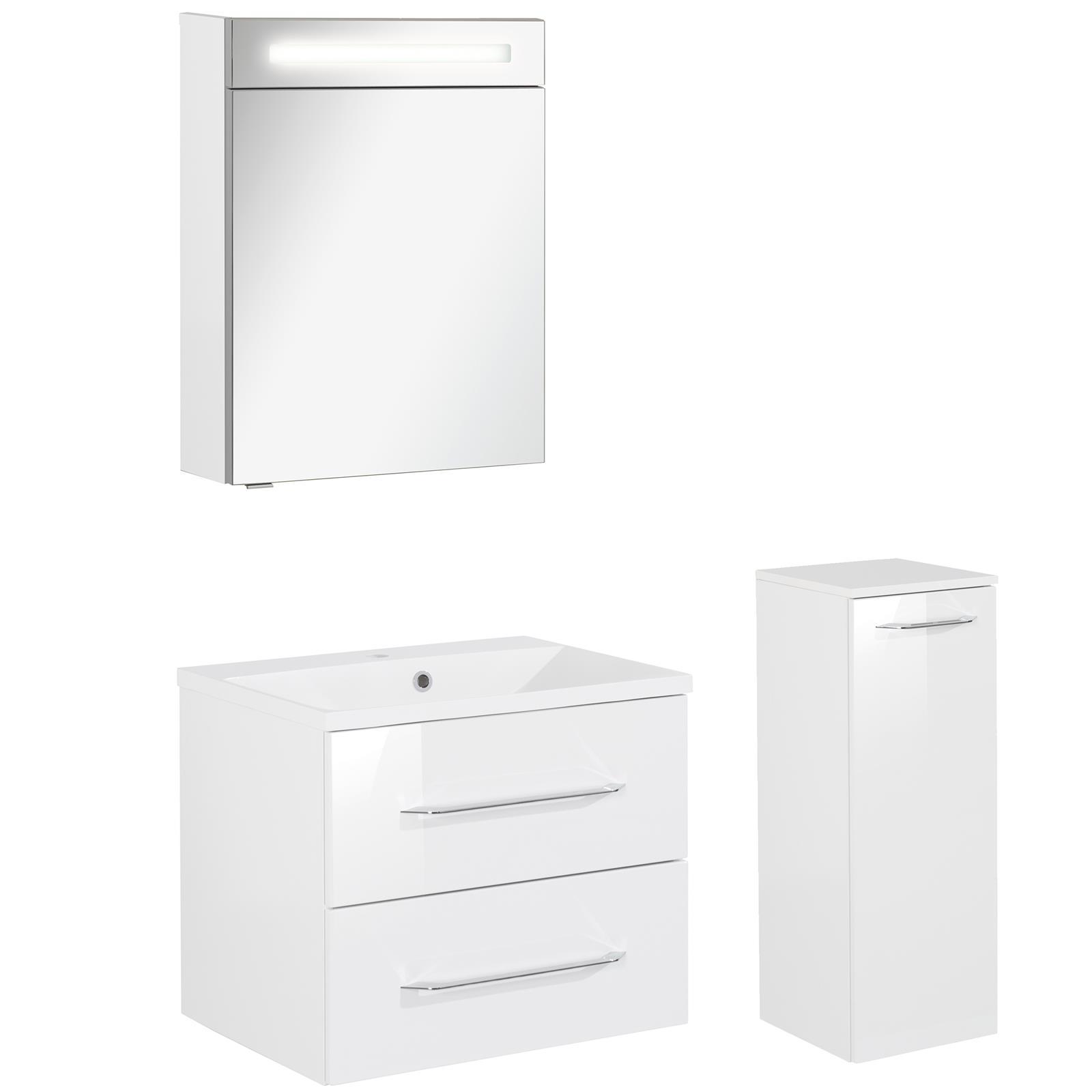 fackelmann badm bel set b clever 3 tlg 60 cm wei inkl led spiegelschrank mm comsale. Black Bedroom Furniture Sets. Home Design Ideas
