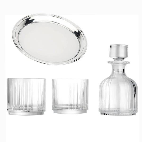 Leopold Vienna kleine gläserne Kristall Whiskeykaraffe & 2 Gläser mit rundem Edelstahl Tablett