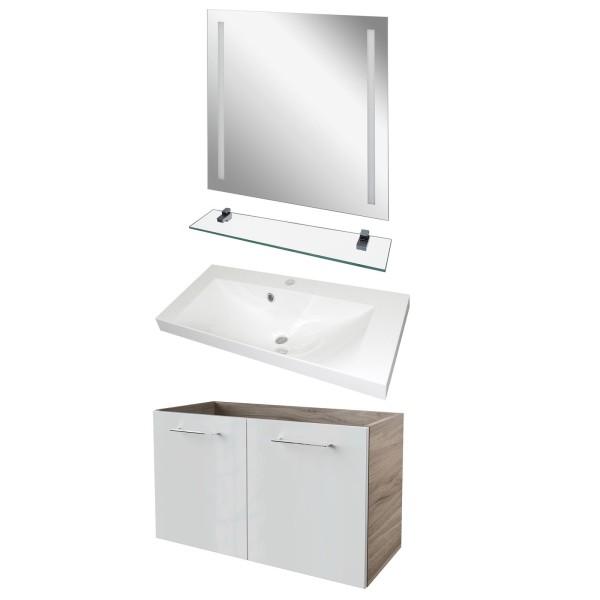 Fackelmann Badmöbel 80 cm breit 4 teilig weiß braun & LED Badspiegel