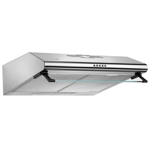 flache Edelstahl Unterbauhaube 60 cm mit Metallfilter