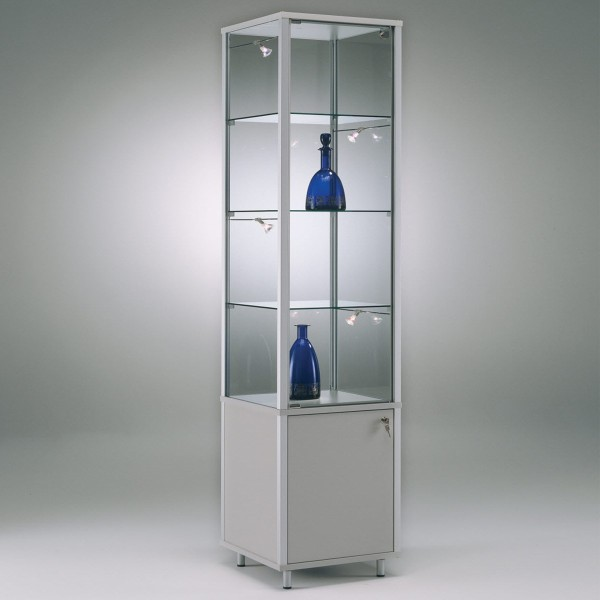exklusive Glas-Standvitrine 50 cm abschließbar mit Unterschrank  ohne Spiegelrückwand / auf Rollen