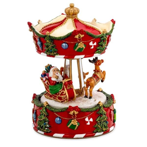 große Spieluhr Ø 10.5 cm Karussell mit Weihnachtsmann Kunststein - Art.-Nr. 6356