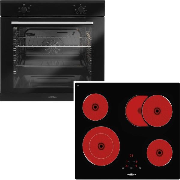Oranier schwarzes Einbaubackofen Set & 60 cm breites Glaskeramikkochfeld KFTC 9965 TC