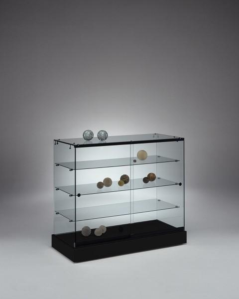 Messetheke Vitrine Glas abschließbar für Ausstellung rollbar 100 cm schwarz - Art.-Nr. PL104-46-ob-schwarz