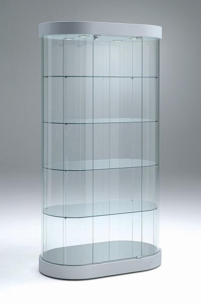 große ovale moderne Design Glasvitrine mit Schloss 97 x 56 cm rollbar - Art.-Nr. PV96-56 H190-mb-4LED-grau