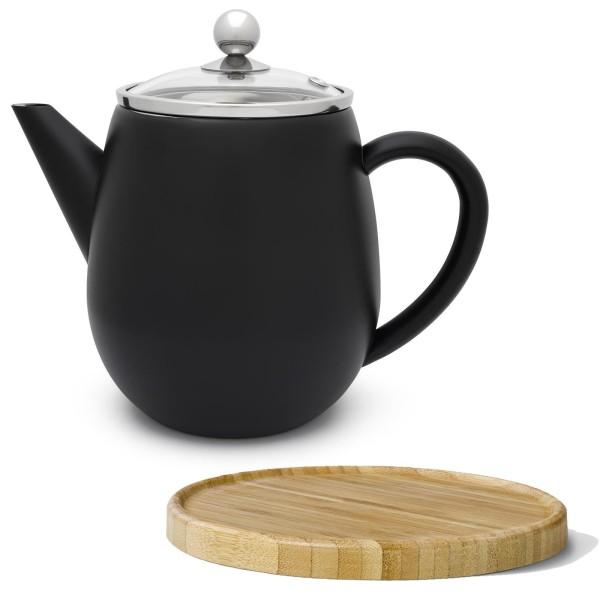 kleine schwarze doppelwandige Edelstahl Teekanne 1.1 Liter mit Filtersieb & braunem Holzuntersetzer