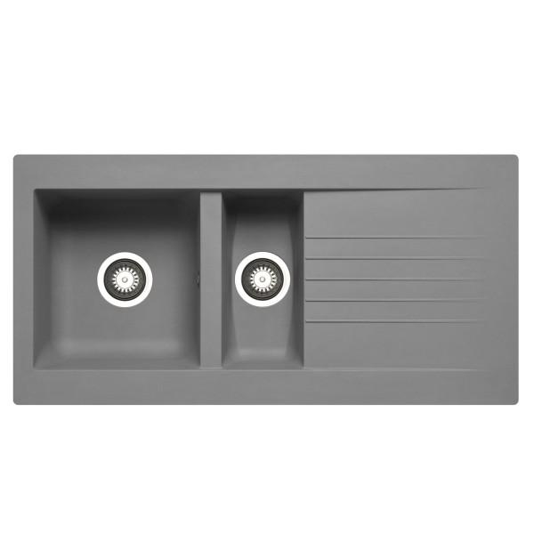 graue XL Einbauspüle 100 cm Fibertek 1 Becken & Restebecken