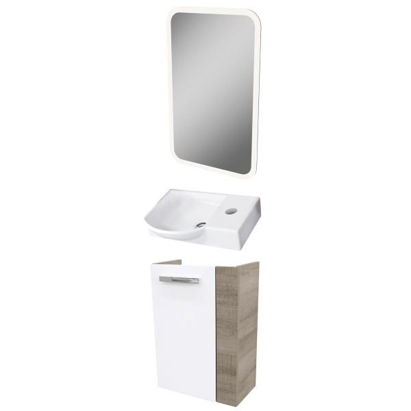 Fackelmann Badmöbel Set A-Vero Gäste WC 3-tlg. 45 cm weiß inkl. LED Spiegelelement