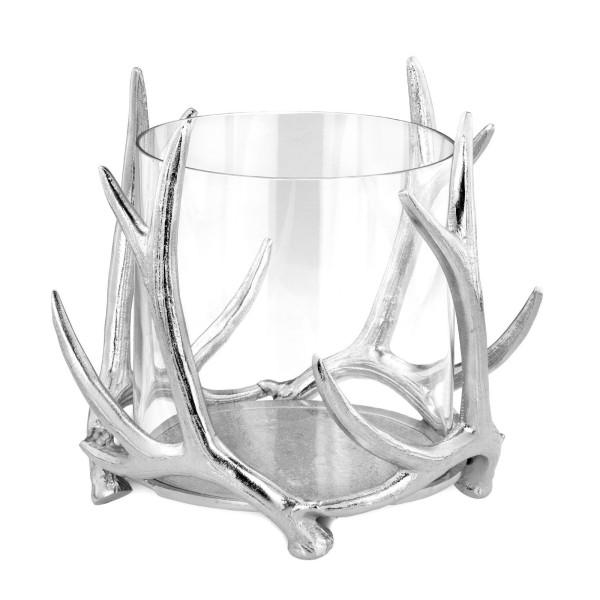 großes Glas Windlicht Aluminium poliert Ø 23 cm Motiv Hirschgeweih - Art.-Nr. 6381alu